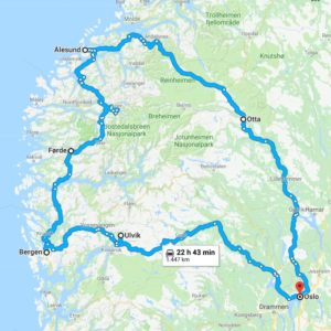 Cartina tour di una settimana in Norvegia